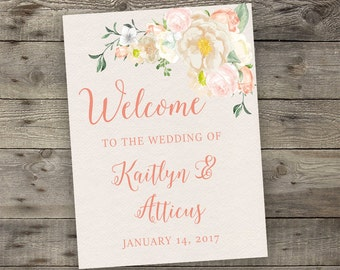Pink Watercolor Floral Wedding Welcome Sign Printable Boho Chic Welcome Sign Bohemian Wedding Greeting Digital File Modern Typography