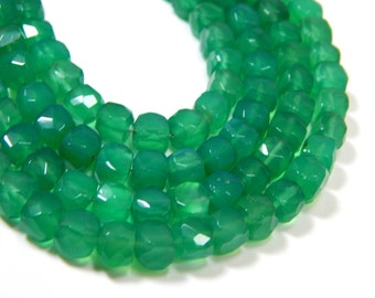 Green Onyx Faceted 3D Cube Beads 100% Natural Gemstone Size 8.5x 6 mm Approx Code - 0384