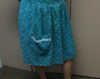 Vintage apron, half apron, green apron, kitchen apron, kitchen décor, cooking apron, green print apron, Theater Supply