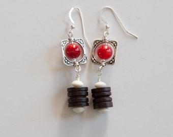 Brown & Red Earrings, Bone and Gemstone Earrings, Dangling Earrings, Brown Red and White Earrings,