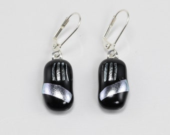 Fused Glass Earrings, Glass Earrings, Black and Silver Earrings