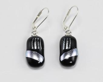 Fused Glass Earrings, Glass Earrings, Black and Silver Earrings