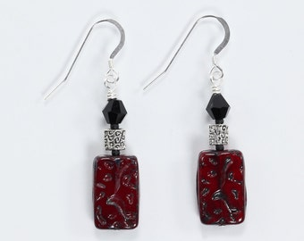 Sterling Silver Earrings, Czech Glass & Crystal Earrings, Black and Burgundy Earrings