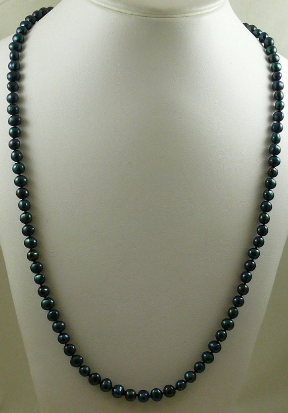 Freshwater Black Pearl Necklace 14k White Gold Clasp 48 Inches