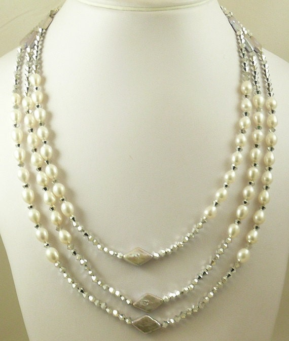Freshwater White & Gray 6.5 - 6.9 mm Pearl and 4mm Crystal Triple Strand Necklace