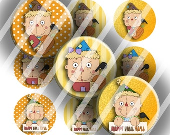 Digital Bottle Cap Collage Sheet - Scrappy Scarecrow - 1 Inch Circles Digital Images for Bottlecaps