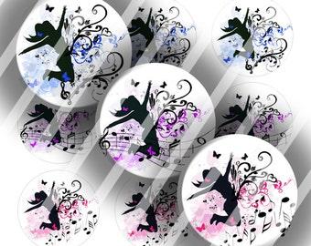 Digital Bottle Cap Collage Sheet - Happy Melodies - 1 Inch Circles Digital Images for Bottlecaps