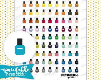 Nail Polish PRINTABLE Planner Stickers | Pdf, Jpg, Silhouette Studio V3 Format | ECLP Vertical Planner Stickers