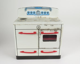 """Vintage MAR toy stove tin litho metal oven range 1950s kitchen New York 13X12X7"""""""