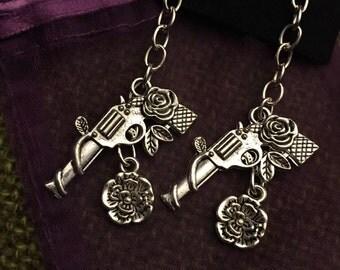 Guns and Roses Dangling Pistol Earrings