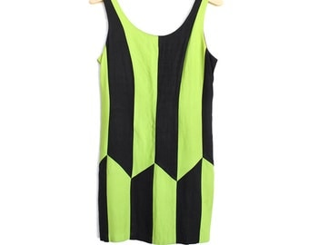 SALE SIZE 4 90s Harlequin Dress- Tank, Zip-up, Op Art, Chartreuse, Citron, Green/ Yellow, Small, Sleeveless