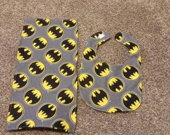 Batman bib and burp cloth set.