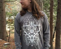 Men's shirt, Sacred geometry elk, long sleeved t shirt, water based ink on cotton, merkaba, honey comb, psychedelic festival clothing