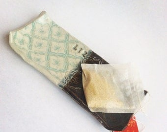 Custom tea bag holder ~ Imprinted ~ Cermic ~ Pastel Blue