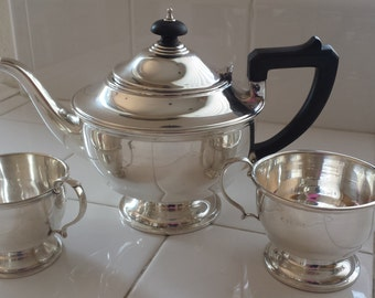 Vintage Sterling Silver Teapot, Creamer & Sugar Set. Marson and Jones. Birmingham 1934.