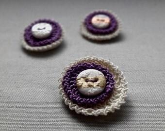 Crochet Brooch. Purple crochet brooch. Purple Brooch. Crochet pin. Purple Crochet pin.