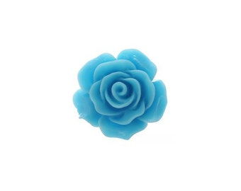 10 Light Blue Cabochon Flowers, Light Blue Resin Rose Flower (1S-93)