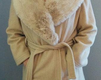 Vintage Fur Collar  Knee Length Wool Dress Coat Womens 10 Chic Style