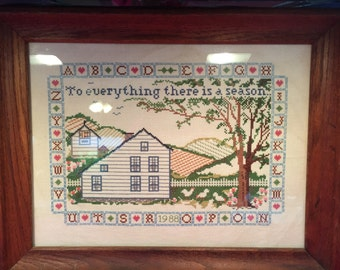 Picture, Counted Cross Stitch, Embroidery, Framed Picture, Sampler