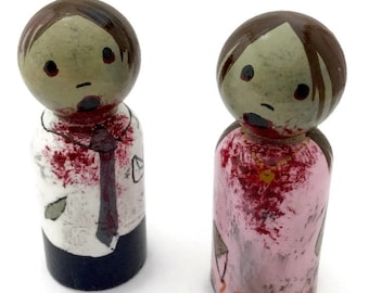 """Peg Doll Zombies - Boy and Girl 2"""" Tall - Cute Zombie Dolls - Zombie Boy and Girl - Wooden Zombie Dolls"""