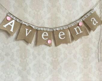 Personalised Burlap name bunting ~ name garland ~ rustic birthday ~ burlap decoration ~ rustic theme ~ vintage ~ baby shower ~