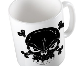 Black cross skull mug