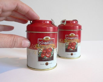 Campbell's Soup Tin Can Salt and Pepper Shakers - Vintage
