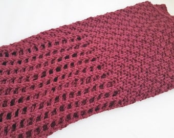 Chunky Knit Blanket - Red