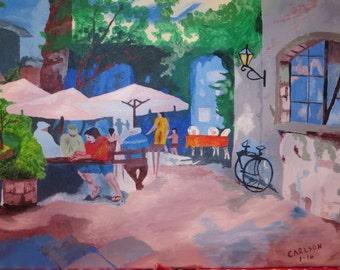 patio time,16x20 acrylic on canvas