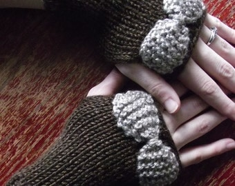 Fingerless Mittens with Bow-Womens Small