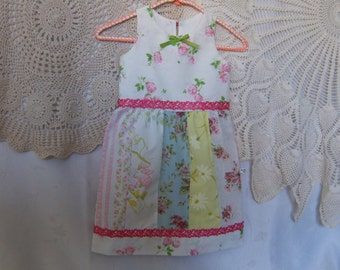 Girl's 5T Dress, Upcycled 5T Dress, 5T Dress From Vintage Textiles, 5T Girl's Dress, Shabby Chic 5T Dress