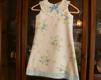 Girl's 5T Dress, Aline 5T Dress, Lace Collar 5T Dress, Girl's 5T Dresses, Doily Collar Dress, 5T Vintage Dress, Toddler 5T Dress