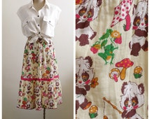 Vintage Panda cartoon maxi skirt