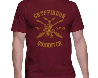 Yellow ink Gryffindor Quidditch team Captain on MEN tee