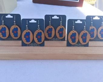 Earrings - Heart in Tahoe - wooden