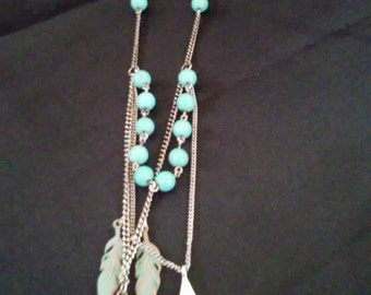 Sliver & Turquoise Feather Necklace and Earrings