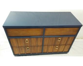 Indigo Lacquered Vintage Mid-Century Modern Dresser