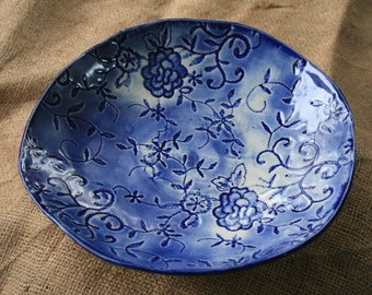 Handbuilt lace imprinted delft blue serving bowl