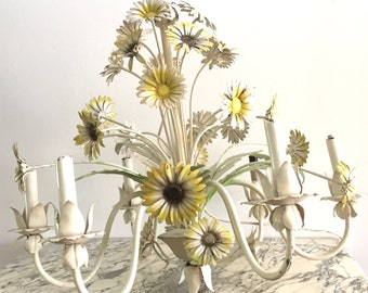 Wonderful Daisy Vintage Tole Chandelier - Metal Shabby Chic - Country Cottage