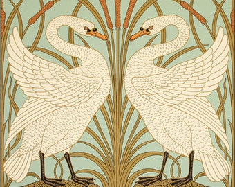 Victorian Walter Crane Swan and Iris Poster