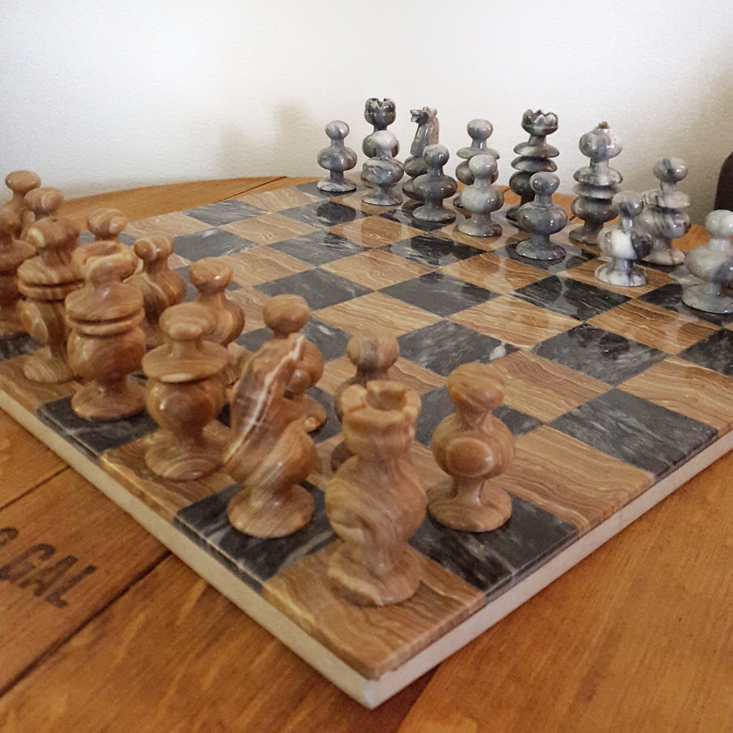 Vintage stone chess set grey and brown onyx marble chess - Granite chess pieces ...