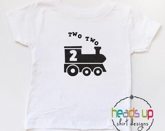 2nd Birthday Train Shirt Boy - Toddler Boy Two Two Train tshirt - Two Birthday Tee Train - Second Bday t shirt - Trendy 2 Birthday - Train
