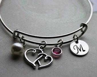 initial bracelet, heart initial bracelet, birthstone initial bracelet, hand stamped initial bracelet, heart charm bracelet, heart bracelet