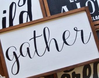 Gather Wood Sign Framed