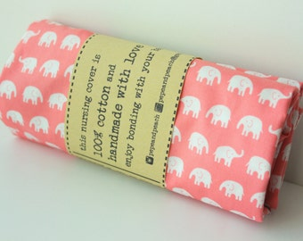 Nursing Cover ~ Breastfeeding Cover ~ Scarf ~ Shawl ~ Gift ~ Cotton Fabric ~ Pink ~ Elephants ~  Comfortable ~ Breathable ~ With Opening