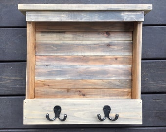 Handmade Wooden Shelf with Hooks