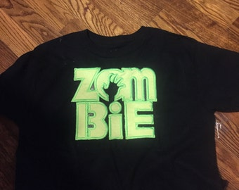 Zombie embroidery design black t-shirt