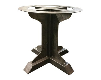 Metal Pedestal Welded Fin Support Table Leg   Round Table, Single Leg,  Industrial,