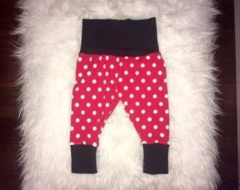 RED POLKADOT LEGGINGS; baby leggings, Minnie Mouse, red and white polka dot