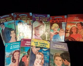 Lot of 9 Vintage Harlequin Paperbacks